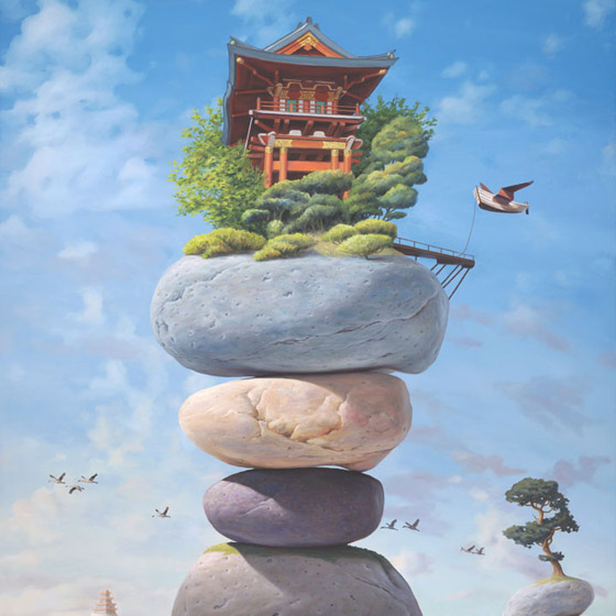 Ode to a Zen Koan, painting of a Japanese temple sitting on top of stacked stones, painting of cairn surrounded by bonsai and pagoda trees, painting Japanese depicting Home, art wtih shoreline, art about growth and expansion, art about dreaming of the ocean,painting with seaview, picture with sand waves and water, painting about balance, picture of a jetty, painting with a bridge, painting elements with path tree bonsai and beach, Japanese chinese garden art, imaginary palace, soulful uplifting inspirational art, soul stirring illusion art, romantic art,  surrealism, surreal art, dreamlike imagery, fanciful art, fantasy art, dreamscape visual, metaphysical art, spiritual painting, metaphysical painting, spiritual art, whimsical art, whimsy art, dream art, fantastic realism art, magic realism oil painting by Paul Bond