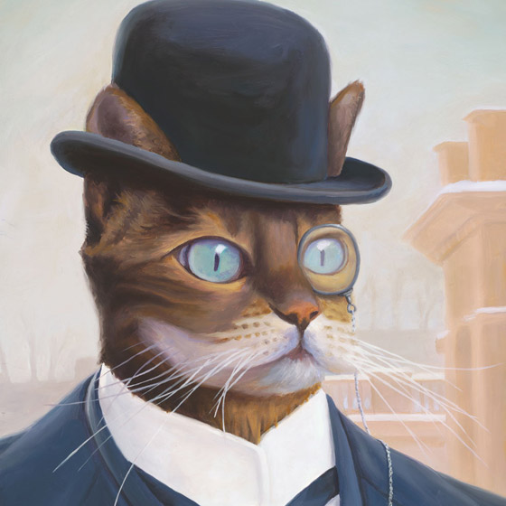 Portrait of a 19th Century Industrialist, painting of a cat dressed like a 19th century industrialist, painting of male cat wearing a monacle and bowler hat, Portrait of an animal, painting with steampunk industry, juxtapose art, soulful uplifting inspirational art, soul stirring illusion art, romantic art,  surrealism, surreal art, dreamlike imagery, fanciful art, fantasy art, dreamscape visual, metaphysical art, spiritual painting, metaphysical painting, spiritual art, whimsical art, whimsy art, dream art, fantastic realism art, magic realism oil painting by Paul Bond