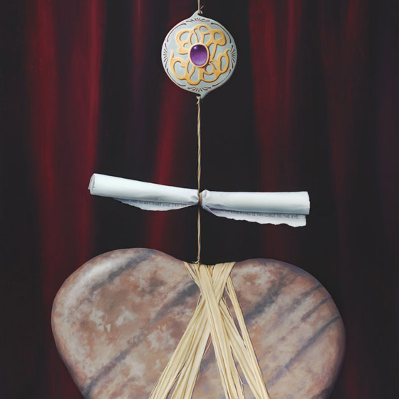 Sacred Contract #1, painting of heart shaped stone with rafia twine around it leading to a scroll and a jewel broach, floating heart stone, painting with scroll, art meaning love, painting with prominent jewel, soulful uplifting inspirational art, soul stirring illusion art, romantic art,  surrealism, surreal art, dreamlike imagery, fanciful art, fantasy art, dreamscape visual, metaphysical art, spiritual painting, metaphysical painting, spiritual art, whimsical art, whimsy art, dream art, fantastic realism art, magic realism oil painting by Paul Bond