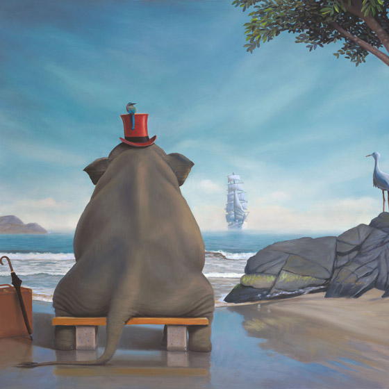 The Day Namotu's Ship Came In, painting of an elephant sitting on a bench wearing a top hat, elephant art on an island, painting about waiting for ship to come in, bird, asia, africa, jungle, painting elements include water umbrella suitcase tree ocean waves, art with top hat and bird, painting of tall ship, art about idealism adventure and  journey, art with bee eater bee-eater bird, inspired by T.S. Elliot, art depicting trying to get home, art about exploration and travel, soulful uplifting inspirational art, soul stirring illusion art, romantic art,  surrealism, surreal art, dreamlike imagery, fanciful art, fantasy art, dreamscape visual, metaphysical art, spiritual painting, metaphysical painting, spiritual art, whimsical art, whimsy art, dream art, fantastic realism art, limited edition giclee, signed art print, fine art reproduction, original magic realism oil painting by Paul Bond