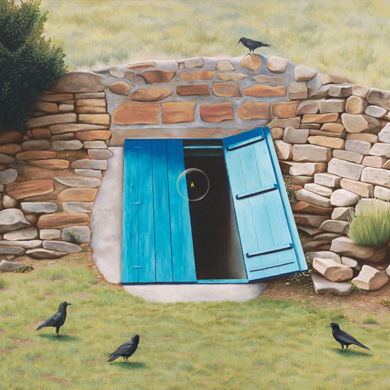 The Effects Of Departure From Ideal Proportions, painting of a blue cellar door partially open with a flame floating in a bubble, art with raven crows, painting about the dark night of the soul, art set at ghost ranch Abiquiu new mexico,soulful uplifting inspirational art, soul stirring illusion art, romantic art,  surrealism, surreal art, dreamlike imagery, fanciful art, fantasy art, dreamscape visual, metaphysical art, spiritual painting, metaphysical painting, spiritual art, whimsical art, whimsy art, dream art, fantastic realism art, magic realism oil painting by Paul Bond