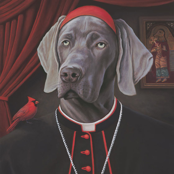 The Emissaries, painting of a weimaraner dog dressed like a cardinal, painting with red  cardinal bird, art with catholic priests, pious, painting about religion and love, painting meaning happy positive joyful state of being, art abour unconditional love of pet, soulful uplifting inspirational art, soul stirring illusion art, romantic art,  surrealism, surreal art, dreamlike imagery, fanciful art, fantasy art, dreamscape visual, metaphysical art, spiritual painting, metaphysical painting, spiritual art, whimsical art, whimsy art, dream art, fantastic realism art, magic realism oil painting by Paul Bond