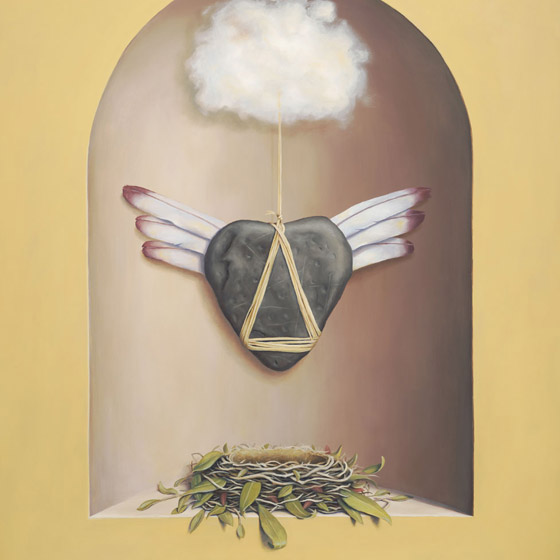 The Flying Lesson, painting of a heart-shaped stone with feathers as wings tethered to cloud sitting above a nest, art with floating heart, rock, stacked cairn hanging from a string, trompe l'oeil, soulful uplifting inspirational art, soul stirring illusion art, romantic art,  surrealism, surreal art, dreamlike imagery, fanciful art, fantasy art, dreamscape visual, metaphysical art, spiritual painting, metaphysical painting, spiritual art, whimsical art, whimsy art, dream art, fantastic realism art, magic realism oil painting by Paul Bond