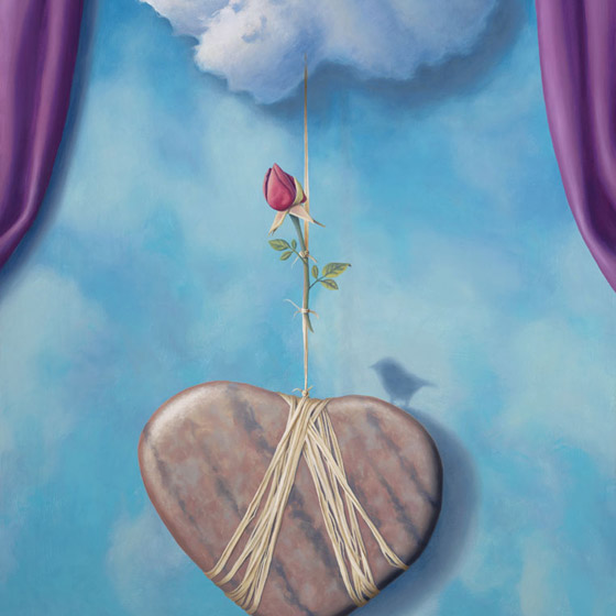 The Illusion Of Love's Disturbance, painting of a heart shaped stone tethered to a cloud with rope and a rose, art with blue sky and purple curtains in background, painting with prominently featured bird and heart shaped rock stones, rafia string, soulful uplifting inspirational art, soul stirring illusion art, romantic art,  surrealism, surreal art, dreamlike imagery, fanciful art, fantasy art, dreamscape visual, metaphysical art, spiritual painting, metaphysical painting, spiritual art, whimsical art, whimsy art, dream art, fantastic realism art, magic realism oil painting by Paul Bond