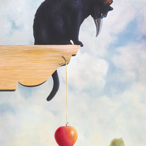 The Kindest Premeditation, painting of a black cat pretending to be a bird, art of cat wearing a bird beak peering over the ledge, painting with danlging apple on a string, painting about deception deceipt and trickery, art about lies, picure with bird beak, kitty with an apple, soulful uplifting inspirational art, soul stirring illusion art, romantic art,  surrealism, surreal art, dreamlike imagery, fanciful art, fantasy art, dreamscape visual, metaphysical art, spiritual painting, metaphysical painting, spiritual art, whimsical art, whimsy art, dream art, fantastic realism art, magic realism oil painting by Paul Bond