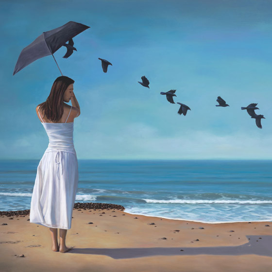 the releasing of sorrows, painting of a woman standing on the beach in white holding a black umbrella with ravens flying away out of the umbrella, woman, umbrella, white dress, art with stacked stone cairn, rocks, sky, flying, art with crow raven black birds, clouds, water, waves, sea, ocean, surf, surfing, beach, art about sadness sorrow, art about pain release, purge, heal, trompe l'oeil,soulful uplifting inspirational art, soul stirring illusion art, romantic art,  surrealism, surreal art, dreamlike imagery, fanciful art, fantasy art, dreamscape visual, metaphysical art, spiritual painting, metaphysical painting, spiritual art, whimsical art, whimsy art, dream art, fantastic realism art, magic realism oil painting by Paul Bond