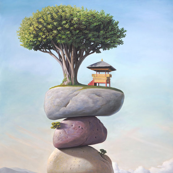 The Soft Morning of Our Remembrance, painting of temple and tree on top of stacked stones on beach near water with clouds in background, tree, wave, dreamscape, ocean, sea, beach, sand, morning, illustion, stacked, stones, rocks, clouds, temple, stairs, steps, art about bali indonesia, holy, sacred, cairn, balance, floating, trompe l'oeil, soulful uplifting inspirational art, soul stirring illusion art, romantic art,  surrealism, surreal art, dreamlike imagery, fanciful art, fantasy art, dreamscape visual, metaphysical art, spiritual painting, metaphysical painting, spiritual art, whimsical art, whimsy art, dream art, fantastic realism art, magic realism oil painting by Paul Bond