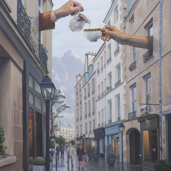 Le Tryst, art of secret meeting between lovers, painting of Paris, art with tea cups, painting of coffee cups, painting featuring hands, art of cream being poured, art with tourists, painting of Le Marais Paris, painting of France, art with couple walking on street, portrait of rainy street scene, male figure with clouds and sky, painting meaning romantic secret affair, art meaning being in love, art conveying travel, painting with idealism, soulful uplifting inspirational art, soul stirring illusion art, romantic art,  surrealism, surreal art, dreamlike imagery, fanciful art, fantasy art, dreamscape visual, metaphysical art, spiritual painting, metaphysical painting, spiritual art, whimsical art, whimsy art, dream art, fantastic realism art, limited edition giclee, signed art print, fine art reproduction, original magic realism oil painting by Paul Bond