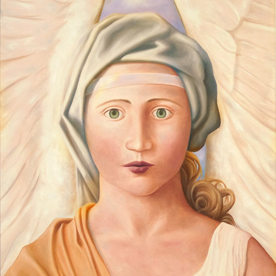 The Whisper, painting of female angel wearing orange robe and white head band, angel, art with renaissance woman, michaelangelo, trompe l'oeil, soulful uplifting inspirational art, soul stirring illusion art, romantic art,  surrealism, surreal art, dreamlike imagery, fanciful art, fantasy art, dreamscape visual, metaphysical art, spiritual painting, metaphysical painting, spiritual art, whimsical art, whimsy art, dream art, fantastic realism art, magic realism oil painting by Paul Bond