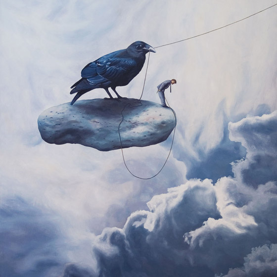 Unexpected Departure, painting of a man and a raven bird standing on stone floating in the sky, art about 9-11, september 11, world trade center,ruble, art with raven crow blackbird, death, sudden, afterlife, trompe l'oeil,soulful uplifting inspirational art, soul stirring illusion art, romantic art, painting of clouds, surrealism, surreal art, dreamlike imagery, fanciful art, fantasy art, dreamscape visual, metaphysical art, spiritual painting, metaphysical painting, spiritual art, whimsical art, whimsy art, dream art, fantastic realism art, magic realism oil painting by Paul Bond